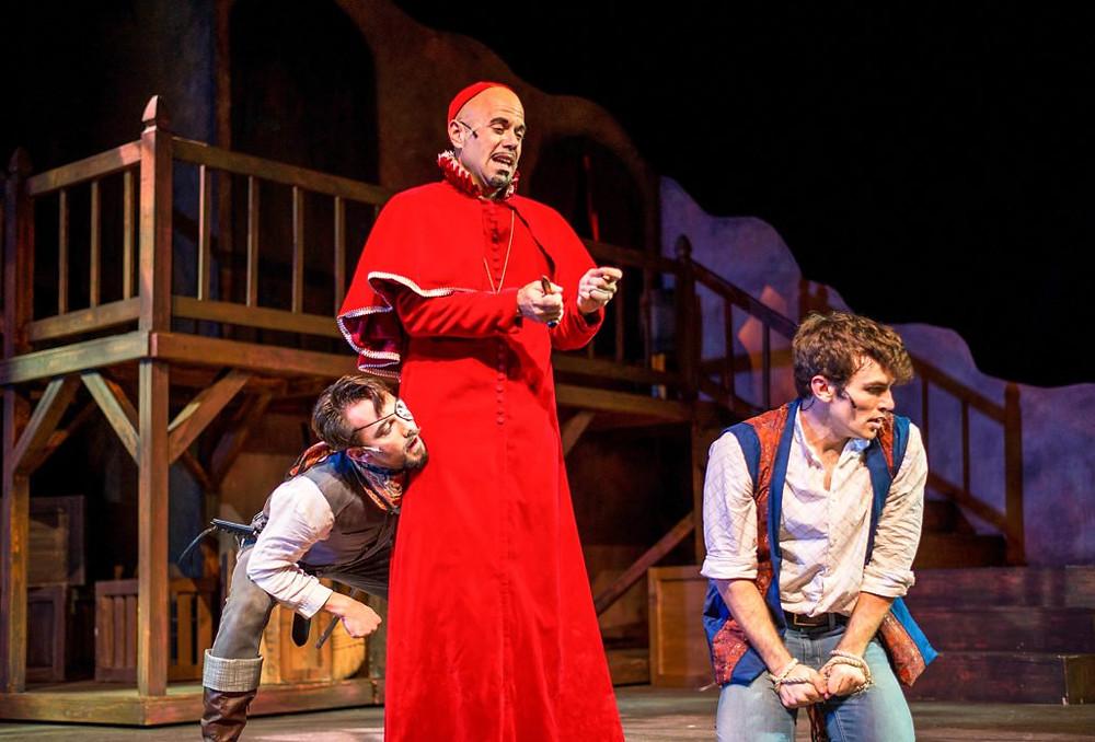 Kyle Stoner as Rochefort, Kevin Caravalho as Cardinal Richelieu, and Brian Bohlender as D'Artagnan