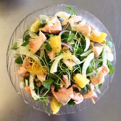Salade de fenouil, saumon et orange