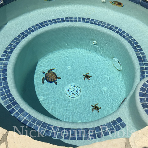 Round inground spa with turtle and tile inlays