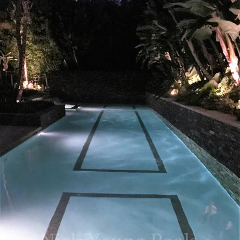 Lap pool at night