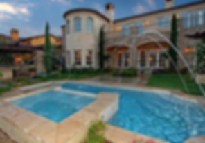 Algae free clear clean backyard pool and spa with fountains