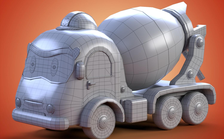 cement truck wireframe