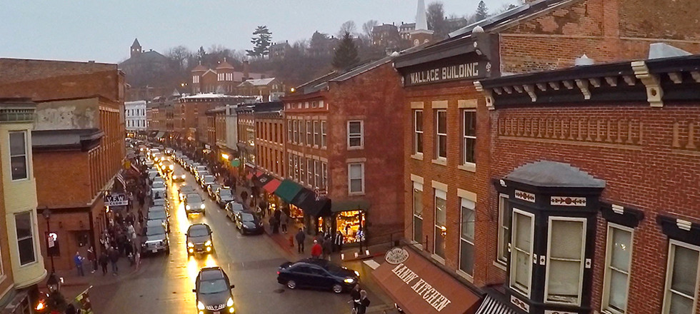 Bird's-eye view of Galena Main Street