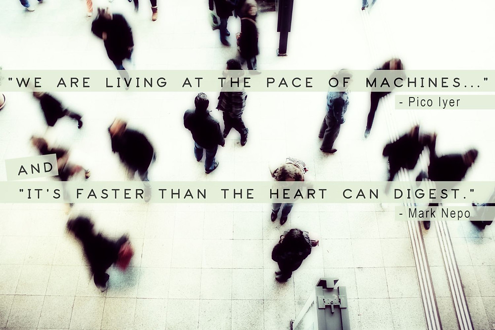 busy train station Pico Iyer Mark Nepo quote - Urban Natural Designs blog living at pace of machines quote