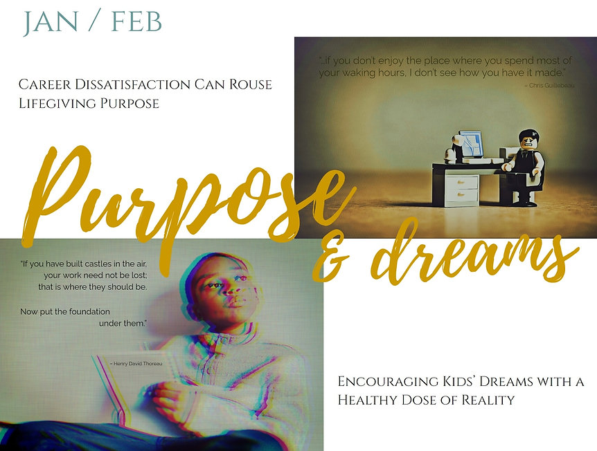 Purpose and dreams article promo Urban Natural Designs blog