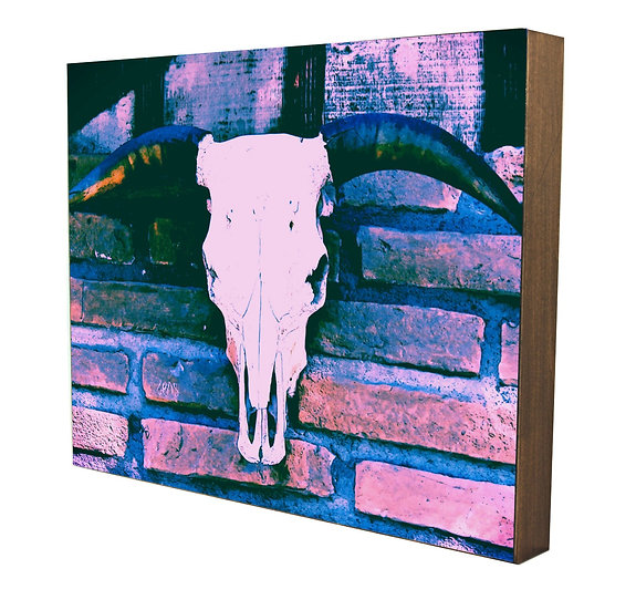 Brick Cow Head Handcrafted Artwork