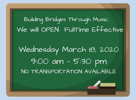 PROGRAM RESUMES WEDNESDAY, MARCH 18, 2020