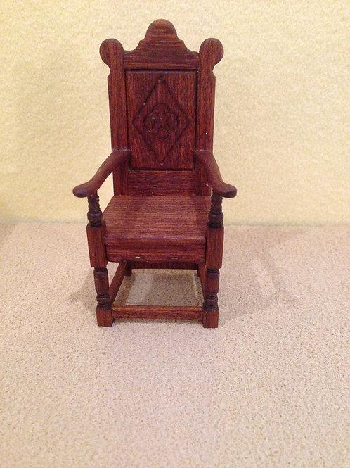 Mahogany Tudor chair.