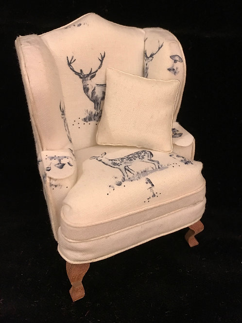 Dolls house 1/12th Wing backed chair. Stag. Study chair.