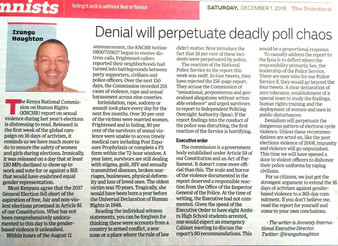 Denial will perpetuate deadly poll violence