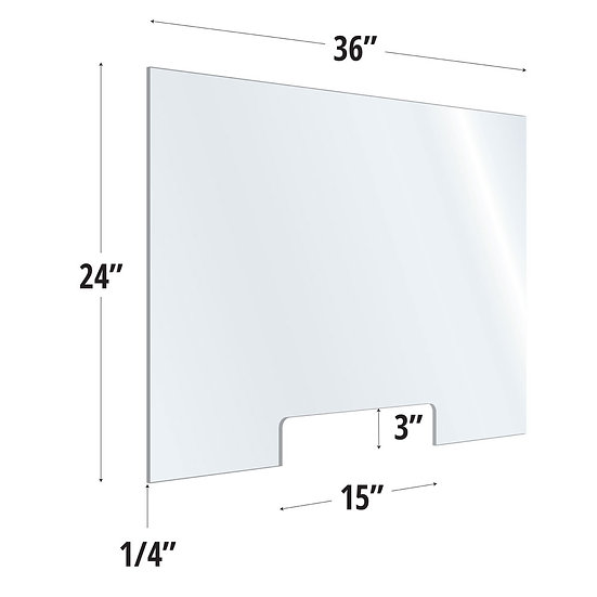 OS Clear Acrylic Screen with Transaction Cutout
