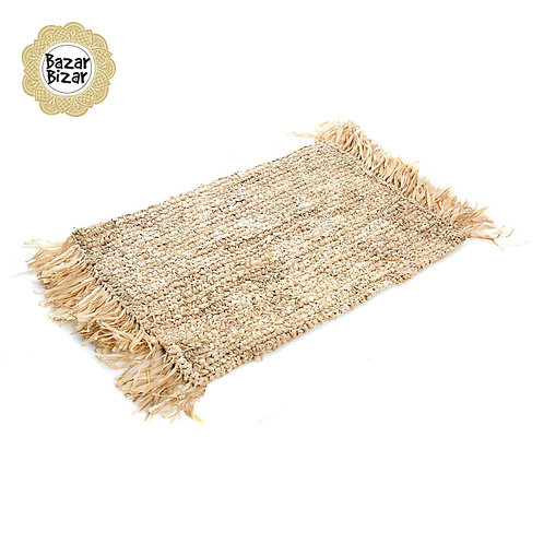 Bazar Bizar - The Fringe Raffia Placemat Rectangular - Natural