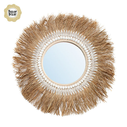 Bazar Bizar - The Raffia Ginger Mirror -  Natural
