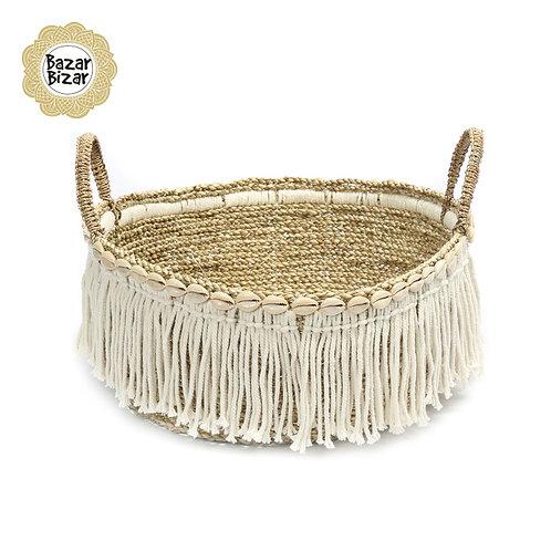 Bazar Bizar - The Boho Fringe Basket - Natural White