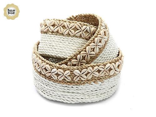 Bazar Bizar - The White Sunday Baskets - White Natural - SET3