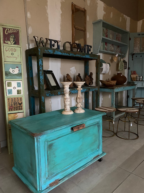 Vintage painted chest on wheels