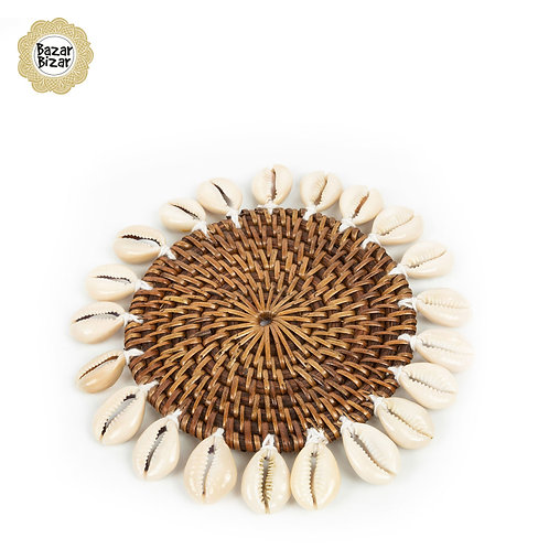 Bazar Bizar - The Colonial Shell Coaster - Natural Brown