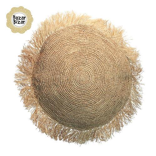 Bazar Bizar - The Raffia Cushion Round - Natural - L