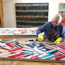At work in her studio @ the ArtFarm in preparation for ArtCrawl 2020