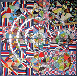 Target/Targeted, 2013, Acrylic mixed-media collage on canvas, 8 ft. x 8 ft.