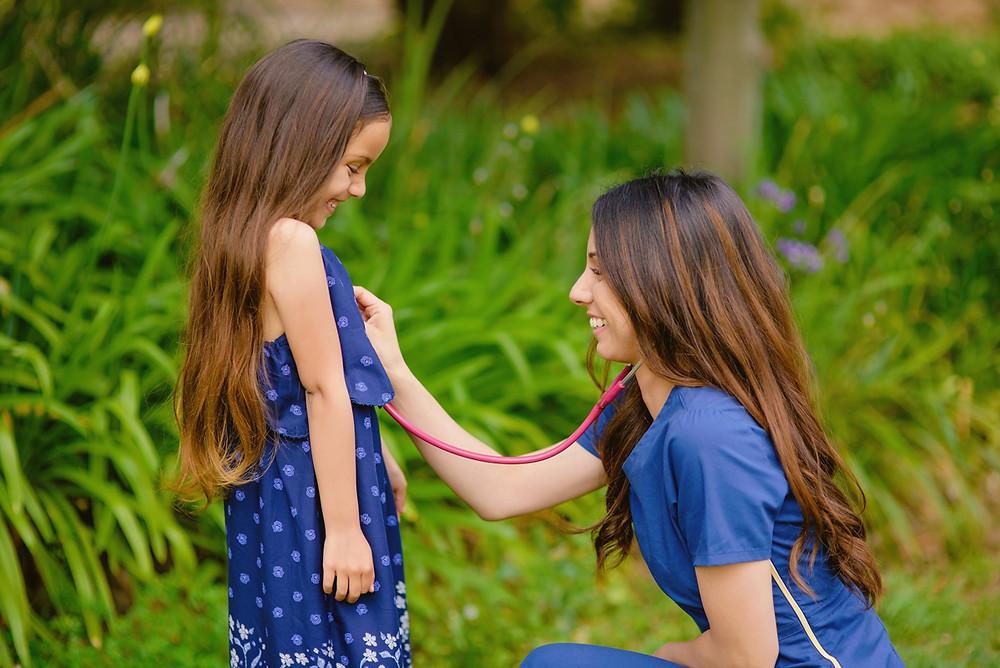 stethoscope nurse portrait mother daughter