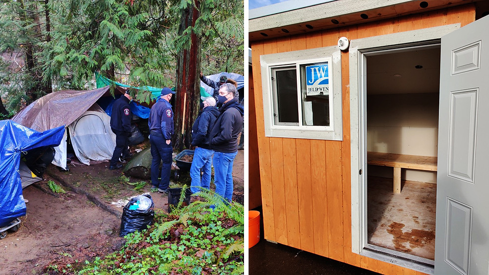 "An encampment in Bowen Park and a new ""bunkie"" shelter in Duncan."