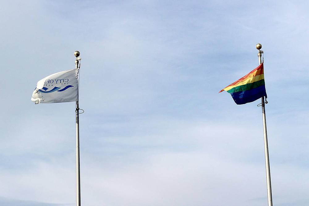 City of Nanaimo flag and Pride flag