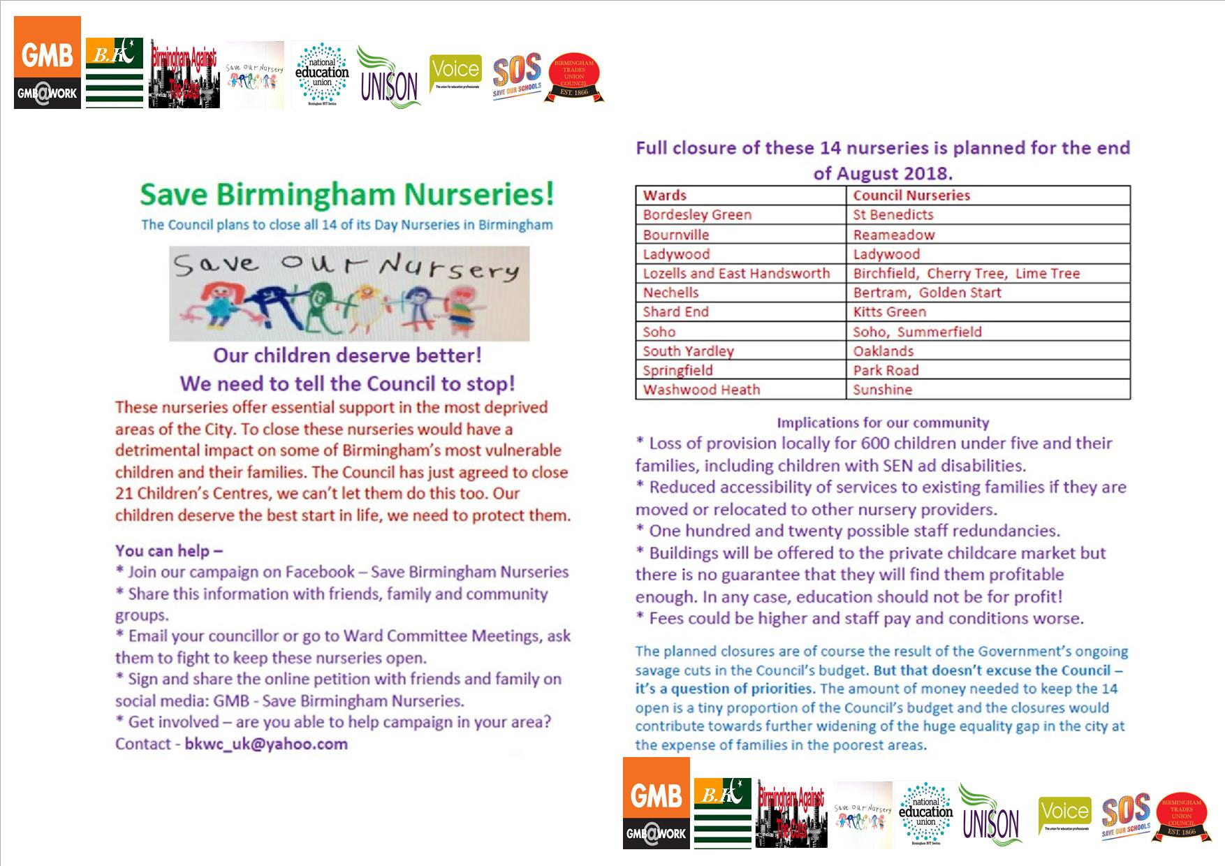 Save Our Nurseries Campaign To Lobby The Council Meeting On Tuesday March 13 From 1pm Birmingham Nut Section National Education Union
