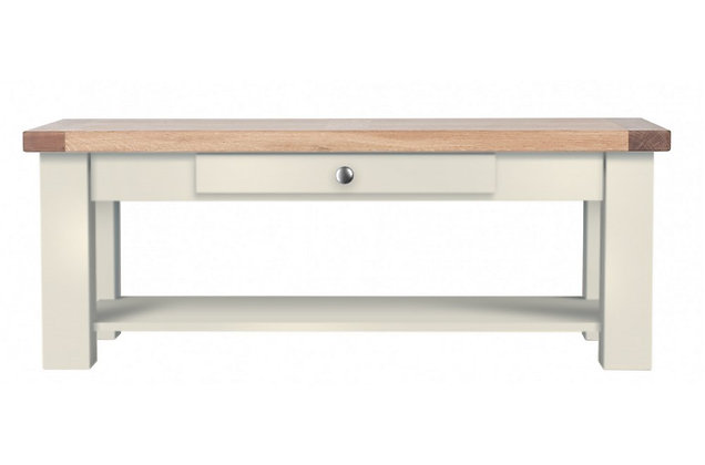 Bretagne Coffee Table with Drawer – Ivory with Natural Top