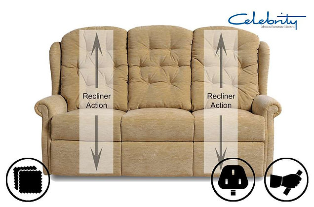 Celebrity Woburn 3 Seater Double Manual Recliner Sofa
