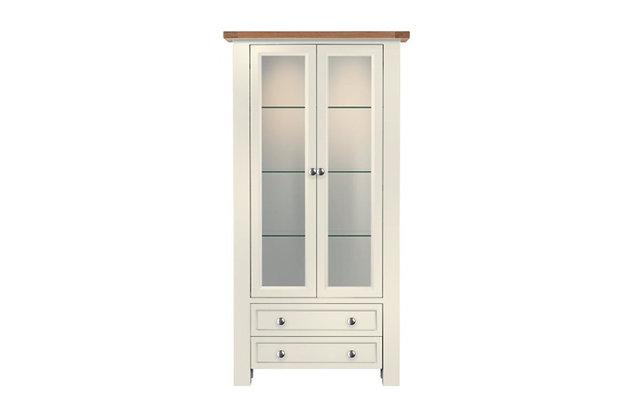 Bretagne 2 Door Display Unit – Ivory with Natural Top