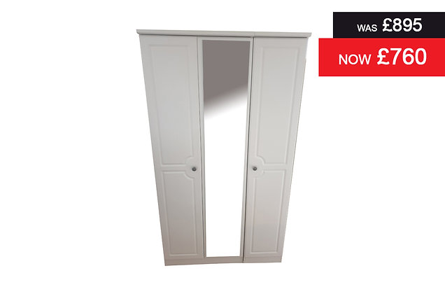 Clifton Tall 3 Door Robe with Centre Mirror - White