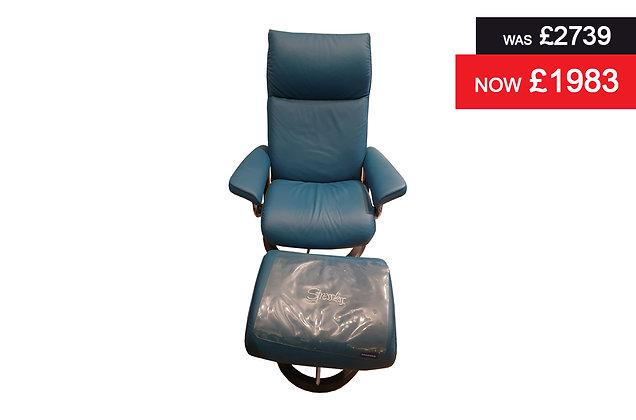 Stressless Aura Medium Recliner Chair & Footstool - Paloma Crystal Blue
