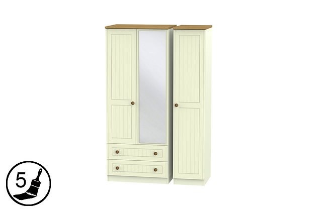 Solent 2 Large Drawer Triple Wardrobe with Mirror