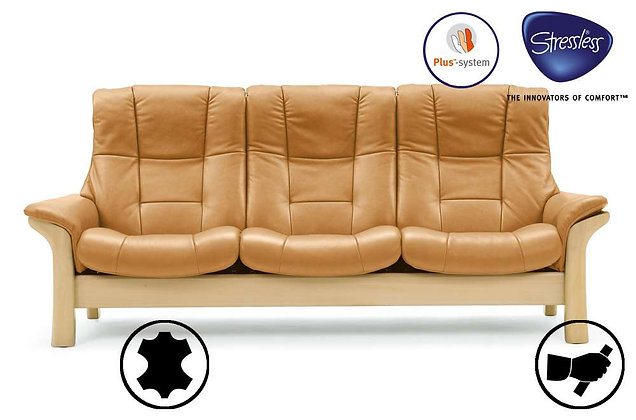Stressless Buckingham High Back 3 Seater Recliner Sofa