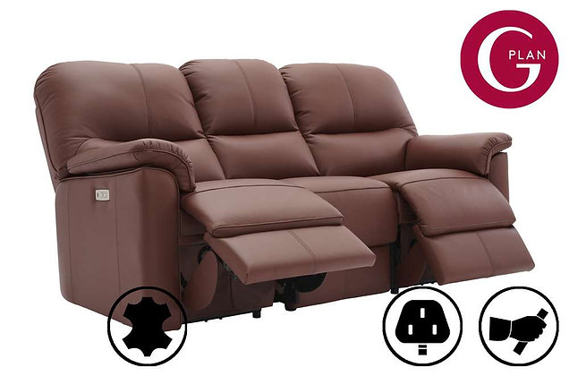 G Plan Chadwick Leather 3 Seater Double Recliner Sofa