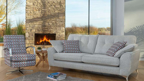 Tromos Sofa and Swivel Accent Chair