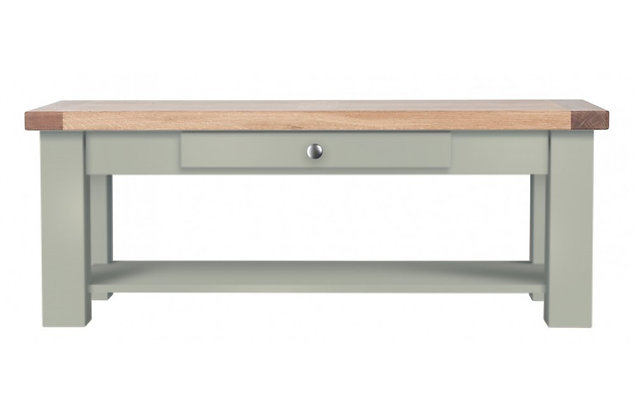 Bretagne Coffee Table with Drawer – Rockford Grey with Natural Top