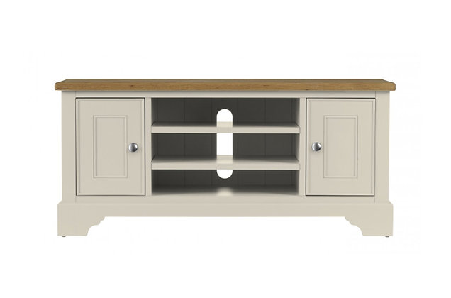Somerdale TV Unit – Ivory with Natural Top