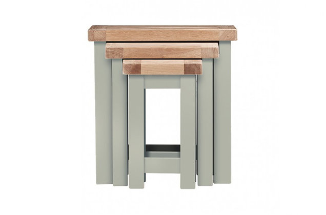 Bretagne Nest of 3 Tables – Rockford Grey with Natural Top