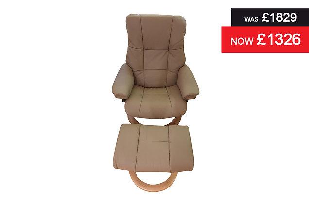 Stressless Mayfair Medium Recliner Chair & Footstool - Batick Mole