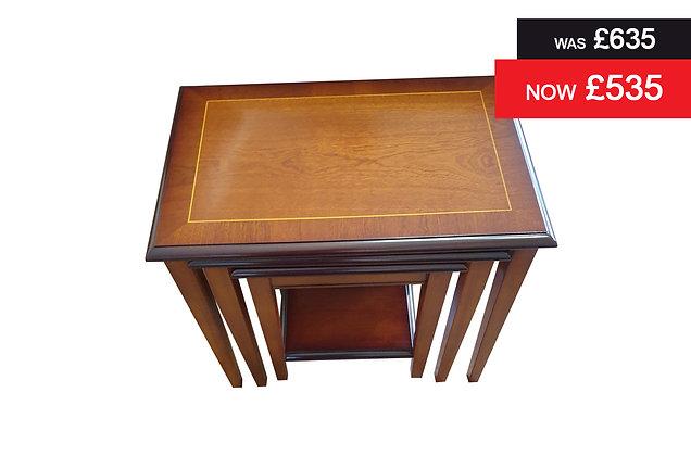 A907 Classic nest of three tables - Natural Mahogany