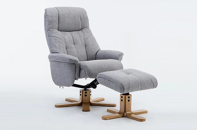 Chiltern Swivel Recliner Chair and Stool - Silver