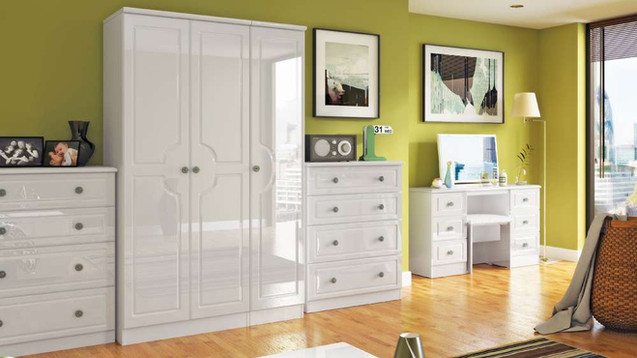 Clifton White Gloss Bedroom Furniture - Wardrobes, Chest of Drawers, Bedside Cabinets, Dressing Tables, Dressing Stools & Bedroom Mirrors | Gordon Busbridge Furniture | Hastings, Eastbourne, Seaford & Bexhill