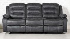 Dakota 'Leather Look' Fabric 3 Seater Recliner Sofa