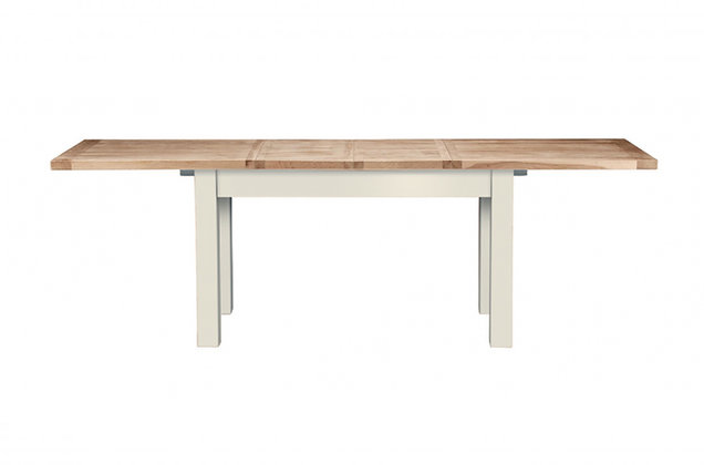 Bretagne 130cm Extending Dining Table – Ivory with Natural Top