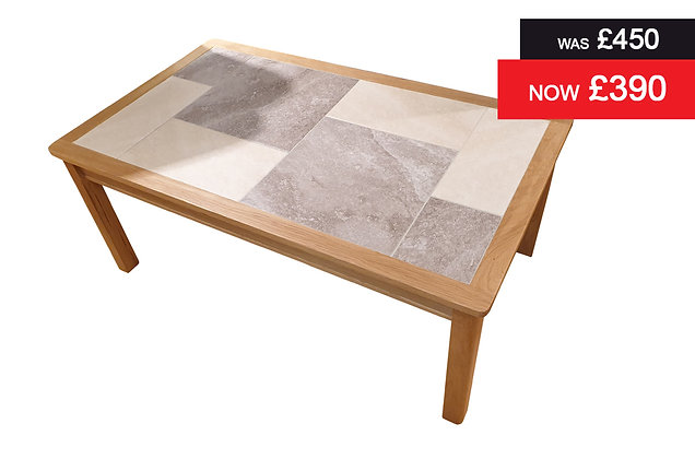 Traditional Large Rectangular Coffee Table - Grey / Oyster Tile