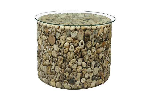 Driftwood Drum Lamp Table with Glass Top
