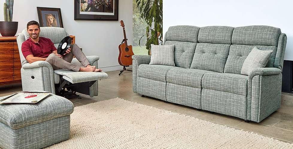 Tara Fabric 3 Seater Sofa, Power Recliner Chair & Footstool