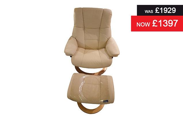 Stressless Mayfair Large Recliner Chair & Footstool - Batick Cream
